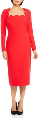Maggy London Scalloped Long-Sleeve Sheath Dress