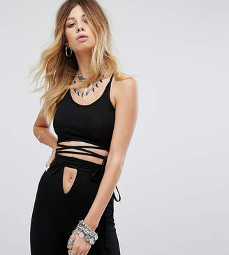 Sacred Hawk Wrap Around Crop Top With Lace Up Back Co-Ord