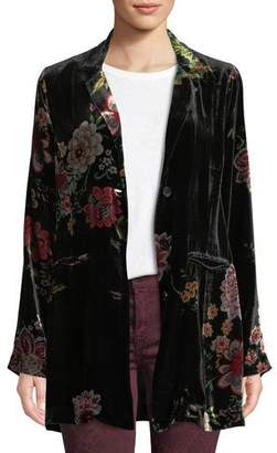 Johnny Was Vivian Floral-Print Silk Velvet Blazer, Petite