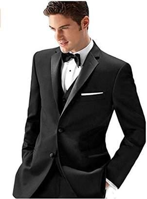 Ike Behar Men's Black 2 Button Super 120's Slim Fit Side Vented Single Breasted Wool Suit