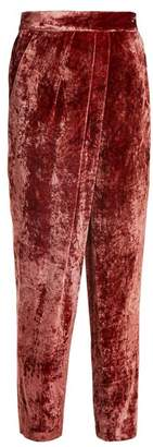 Masscob Tapered Leg Velvet Trousers - Womens - Red