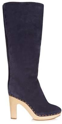 Álvaro alvaro - Shearling Lined Suede Block Heel Boots - Womens - Navy