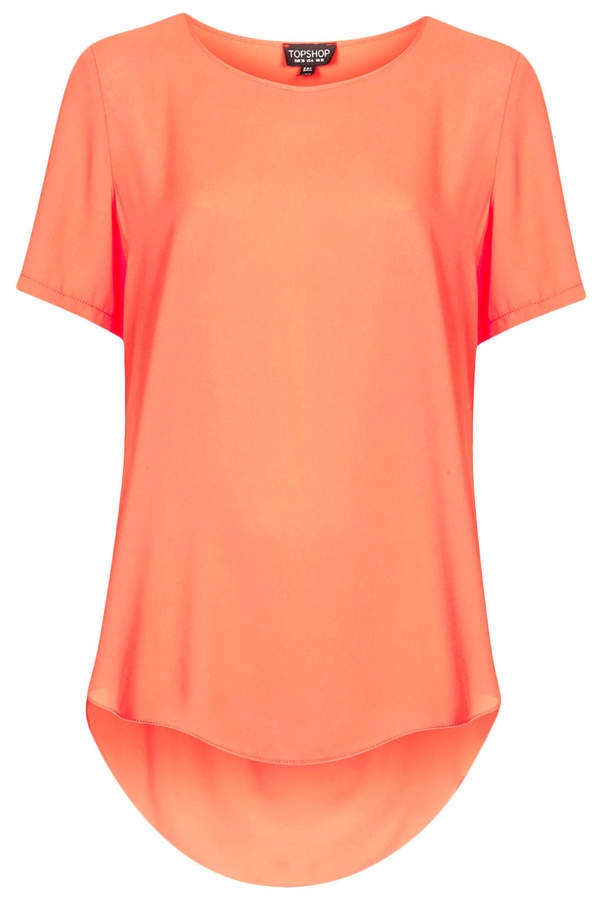 Topshop Short sleeve chiffon tee with split side detail in tangerine. 100% polyester. machine washable.