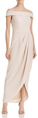 Aqua Off-the-Shoulder Draped Crepe Gown - 100% Exclusive