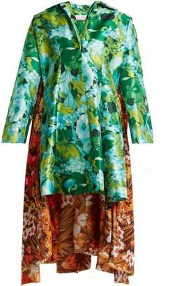 RICHARD QUINN Floral-print asymmetric-hem duchess-satin dress