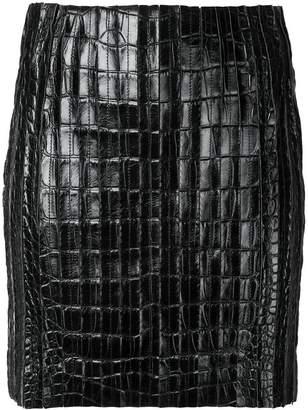 Thierry Mugler crocodile effect mini skirt