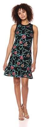 Karen Kane Women's Embroidered Mesh Halter Dress