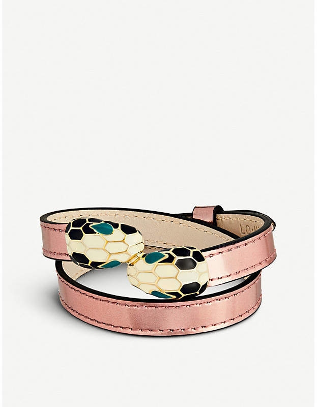 Serpenti Forever gold-plated and leather wrap bracelet