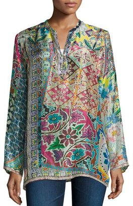 Johnny Was Revine Printed Silk Tunic, Petite $126 thestylecure.com