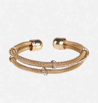 Avenue Stone Mesh Layered Cuff Bracelet