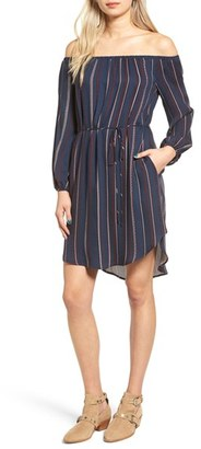 Women's Lush Stripe Off The Shoulder Shirtdress $49 thestylecure.com
