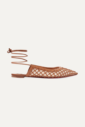 Christian Louboutin Cage And Curry Mesh And Woven Leather Point-toe Flats - Tan