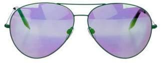 Victoria Beckham Mirrored Aviator Sunglasses Green Mirrored Aviator Sunglasses
