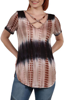 24/7 Comfort Apparel 24Seven Comfort Apparel Clementina Brown and Blue Tie Dye Tunic Top