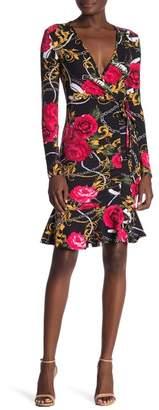 Planet Gold Surplice Floral Print Dress