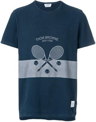 Thom Browne Washed Short Sleeve Tee With Tennis Icon In Classic Pique