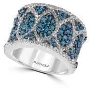 Effy Blue Diamond & 14K White Gold Halo Band Ring