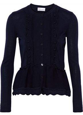 RED Valentino Cable-Knit Wool Peplum Cardigan