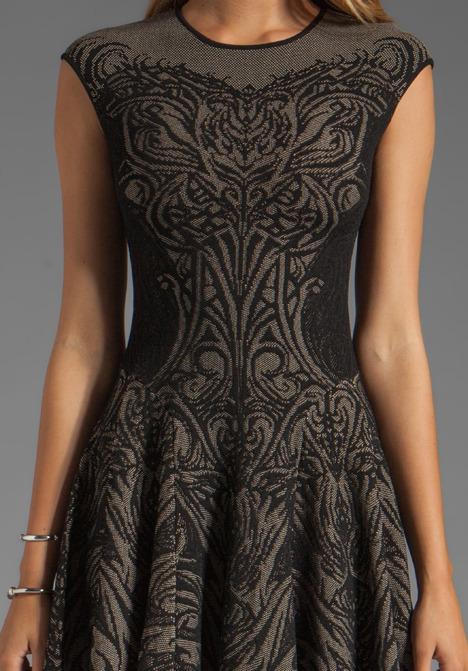 RVN Tattoo Lace Jacquard Flared Dress in Black/Nude