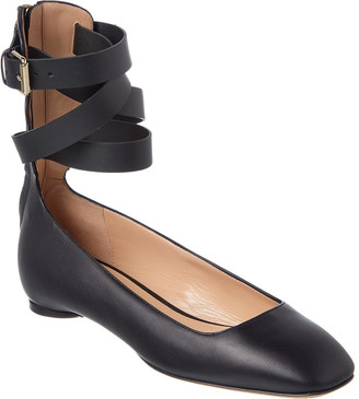 Valentino Leather Ankle Wrap Ballerina Flat