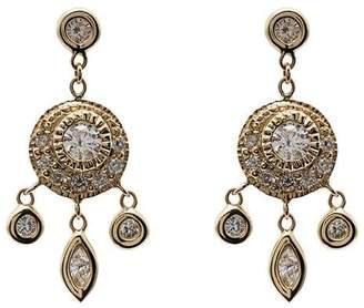 Jacquie Aiche metallic dream catcher 14K gold diamond drop earrings