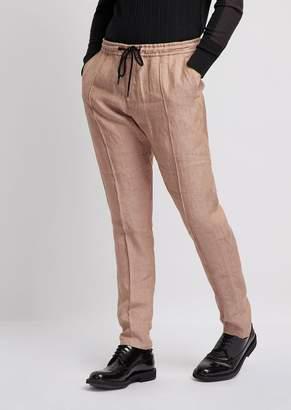 9f3624ef8e79 Emporio Armani Linen Chambray Trousers With Drawstring Waist