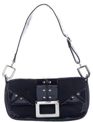 Roger Vivier Patent-Leather Trimmed Ponyhair Shoulder Bag