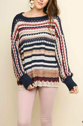 Umgee USA Multi-Color Crochet-Pullover Sweater