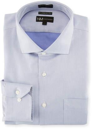 Neiman Marcus Classic-Fit Non-Iron Herringbone Dress Shirt, Blue