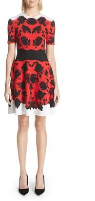 Alexander McQueen Rose Jacquard Knit Flounce Dress