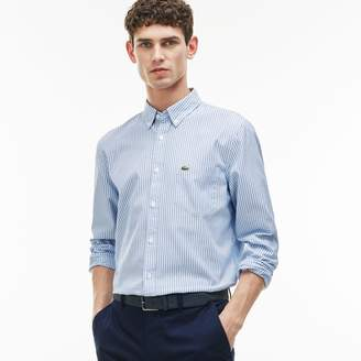 Lacoste Men's Regular Fit Colored Stripes Oxford Cotton Shirt