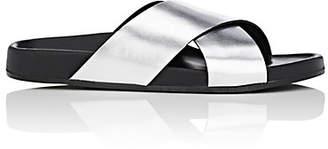 Barneys New York Women's Crisscross-Strap Metallic Leather Slide Sandals - Silver