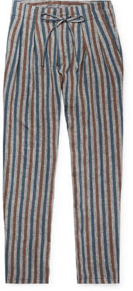 Monitaly Grey Striped Pleated Linen Drawstring Trousers