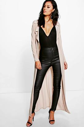 boohoo Eve Slinky Maxi Trench $35 thestylecure.com