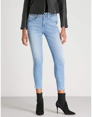 Good American Chain-embellished high-rise skinny stretch-denim jeans