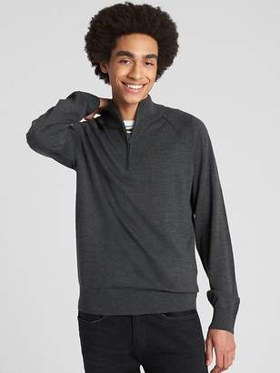 Gap Half-Zip Mockneck Pullover Sweater in Merino Wool