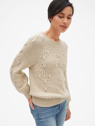 Gap Textured Pattern Pullover Sweater in Wool-Blend