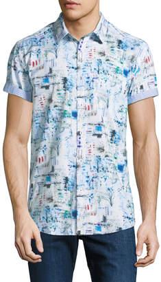 1 Like No Other Classic-Fit Geometric Grid Short-Sleeve Sport Shirt