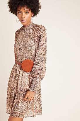 ML Monique Lhuillier Leopard Smocked Mini Dress