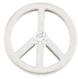 De Beers 18K Diamond Peace Sign Charm