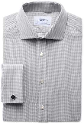 Charles Tyrwhitt Extra Slim Fit Spread Collar Non-Iron Grey Cotton Dress Shirt Single Cuff Size 14.5/33