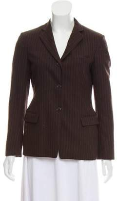 Luciano Barbera Pinstripe Wool Blazer Brown Pinstripe Wool Blazer