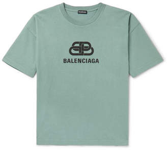 Balenciaga Logo-Print Cotton-Jersey T-Shirt - Men - Green
