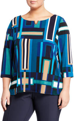 Iconic American Designer Geometric-Print Pullover Crepe Blouse, Plus Size