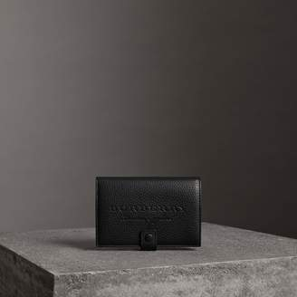 Burberry Embossed Grainy Leather Folding Wallet, Black