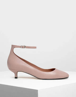 Charles & Keith Round Toe Ankle Strap Pumps