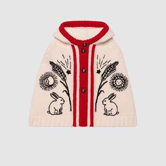 Gucci Baby embroidered chunky wool cape