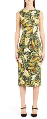 Dolce & Gabbana Pear Print Cady Sheath Dress