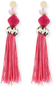 Akola Bone & Raffia Fringe Drop Earrings, Pink