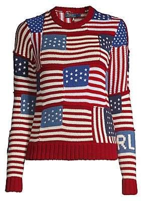 Polo Ralph Lauren Women's Novelty Flag-Patch Polo Sweater